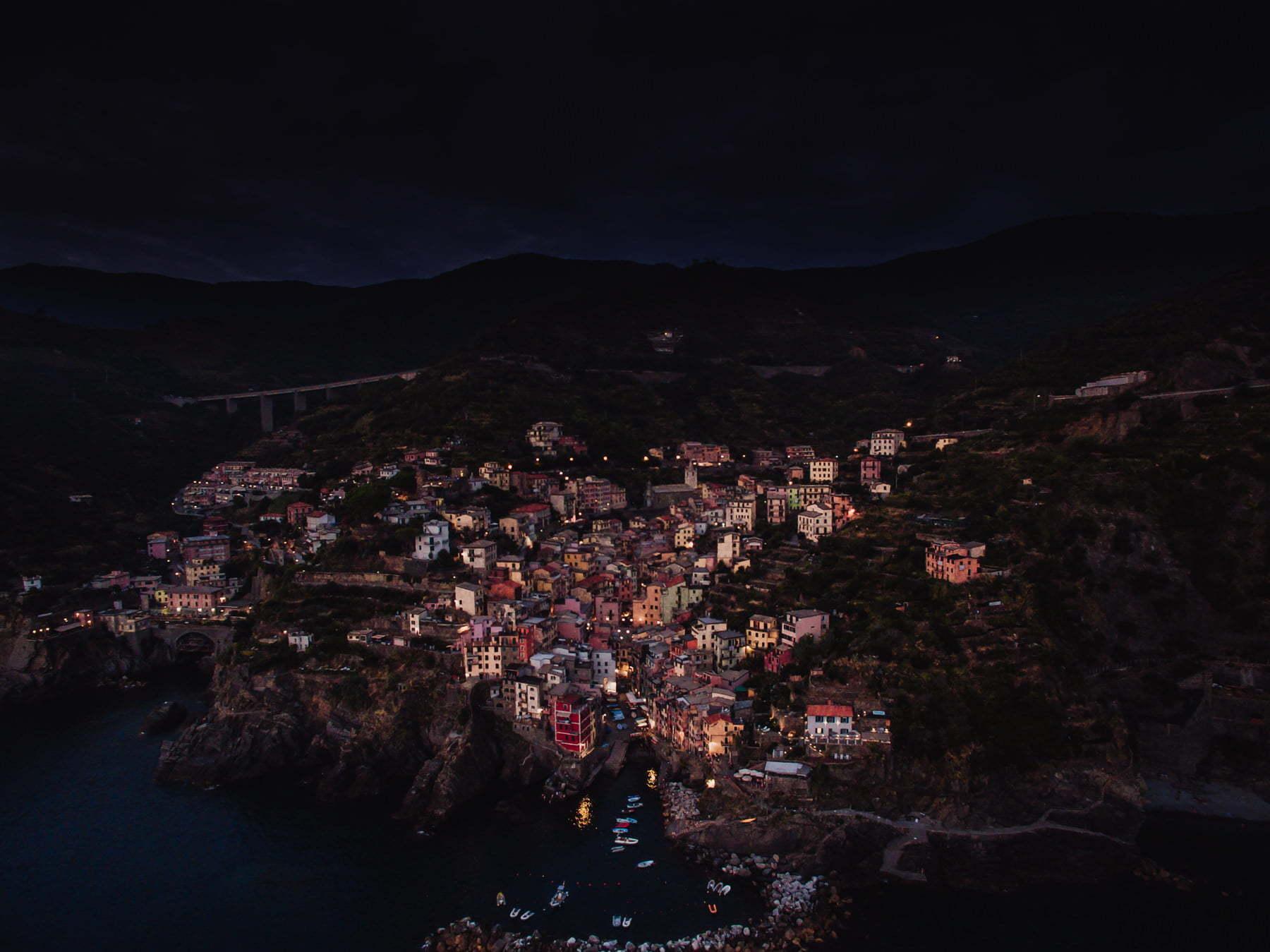 Riomaggiore at night Cinque Terre