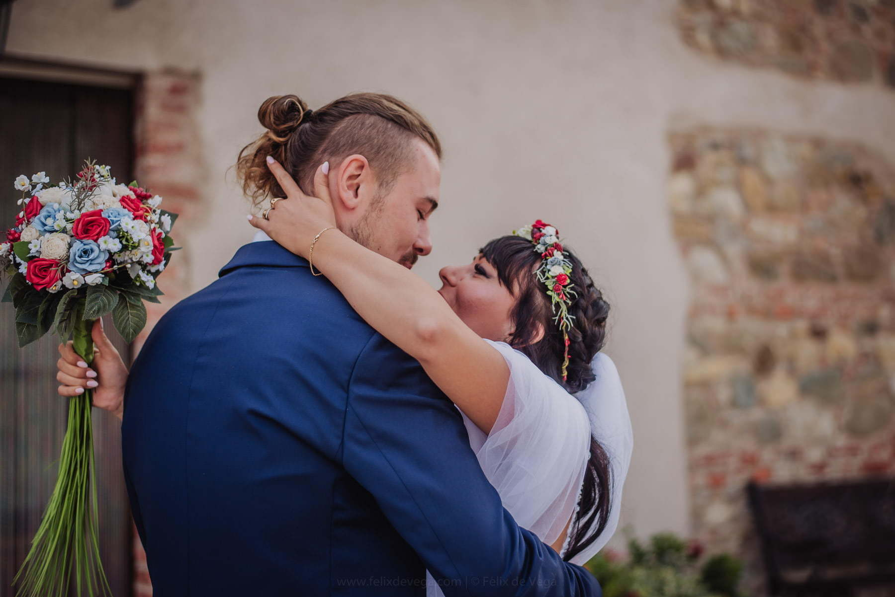 first kiss of bride and groom before wedding in Italy