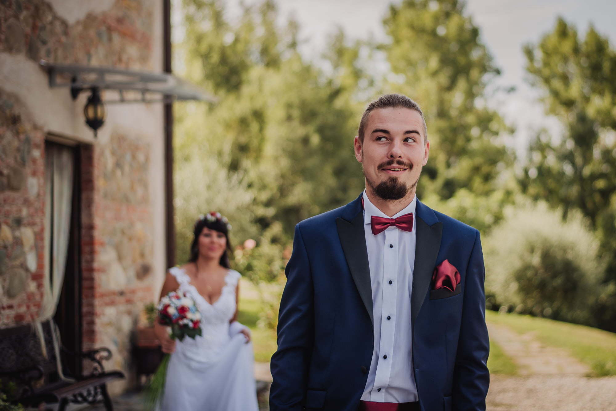 first look before wedding italy cinque terrre elopement